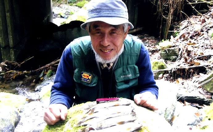 宮崎県耳川支流七ツ山川にて。新緑芽吹く渓谷にヤマメを追い求めて
