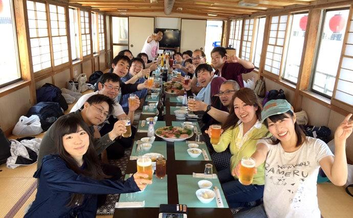 金沢八景で船釣りを楽しんでからの屋形船宴会♪豪華な休日を堪能