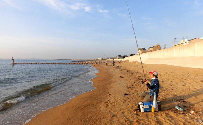 シロギスの投釣り多点掛けで目指せ束釣り【兵庫県淡路島久留麻海岸】