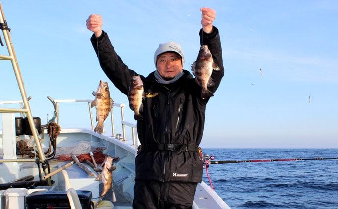 仙台湾なら尺メバルの多点掛けも夢じゃないのだ【宮城県荒浜港大海丸】