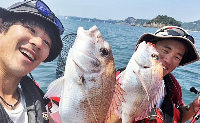 シーカヤック釣行:初タイラバで50cm超マダイ!【兵庫県・淡路島】