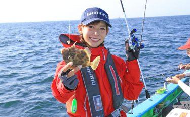 阪本智子がカワハギ沖釣りを満喫!良型ダブルも【神奈川県・一之瀬丸】