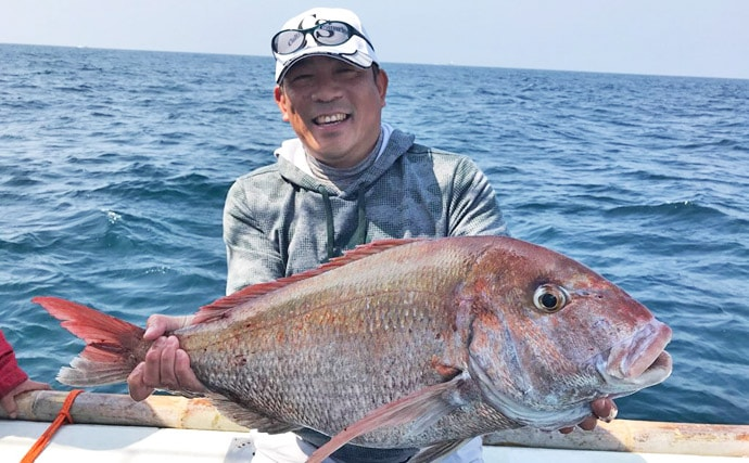【玄界灘】乗っ込みマダイ船釣り最新釣果 特大8kg頭に船中50尾!
