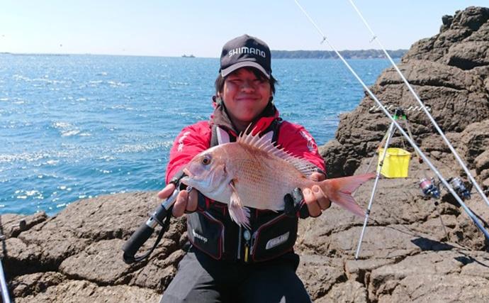 磯の投釣りでキモパン29cmカワハギ マダイも!【和歌山県・紀南】