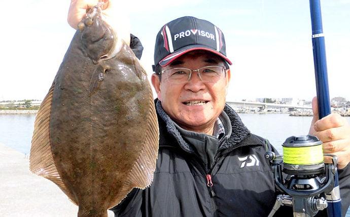 波止での投げ釣りで37cmカレイに20cm頭にキス11尾【兵庫県】