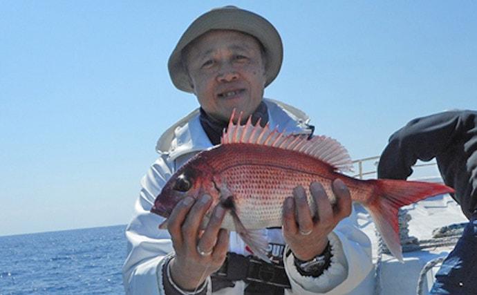 リレー船で38cm頭イサキ40尾 1kg級マダイも【千葉・大栄丸】