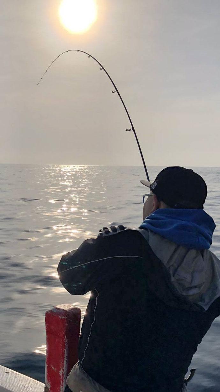 船エギングで4.26kgアオリイカ 周囲と異なるエギ選択がアタリ!
