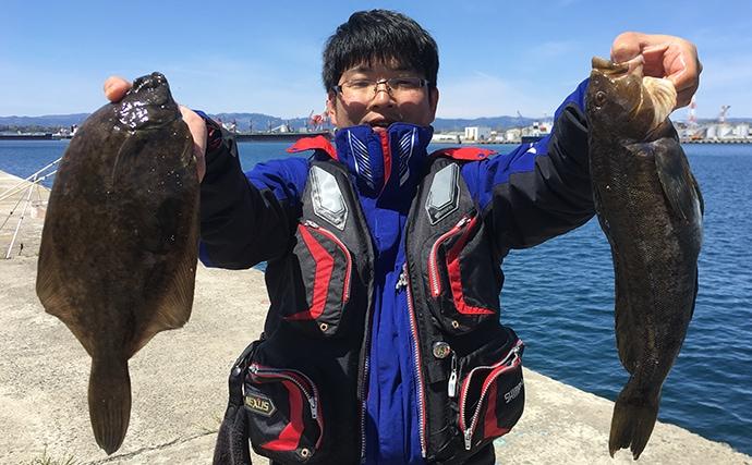 投げ釣り座布団カレイ聖地巡礼で51cm頭に14枚!【福島・小名浜港】