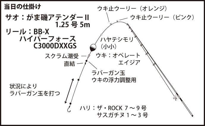 波止フカセで50cm超えクロダイ 全員安打達成【和歌山・宇久井港】