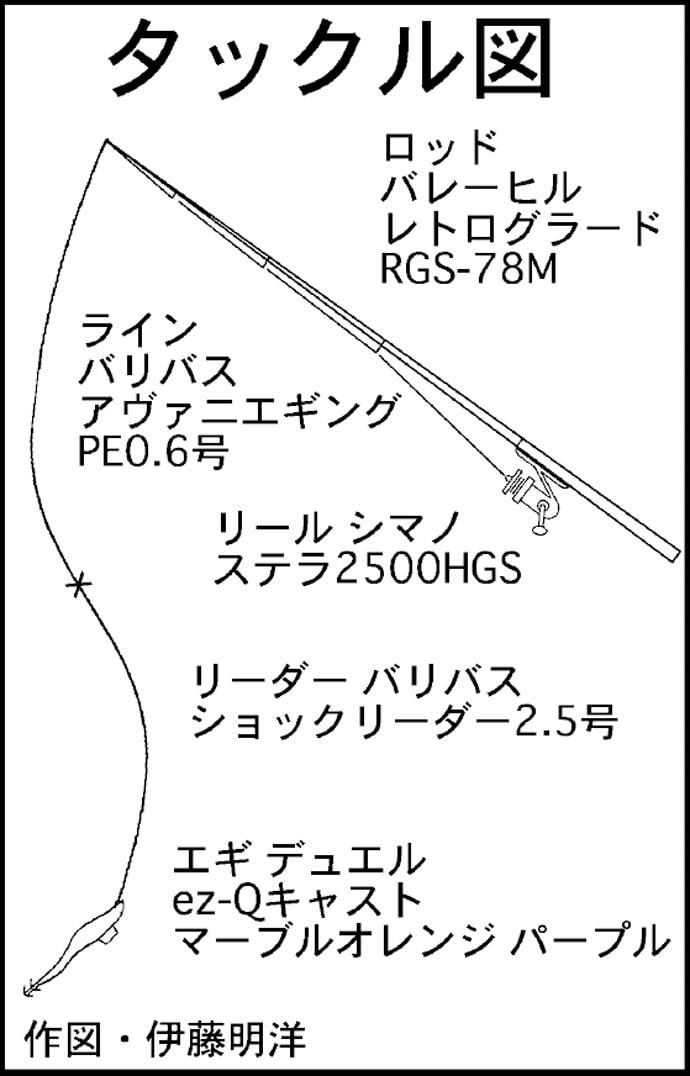 ボートエギングで1.9kgアオリイカ ラスト1投でドラマ【三重県】