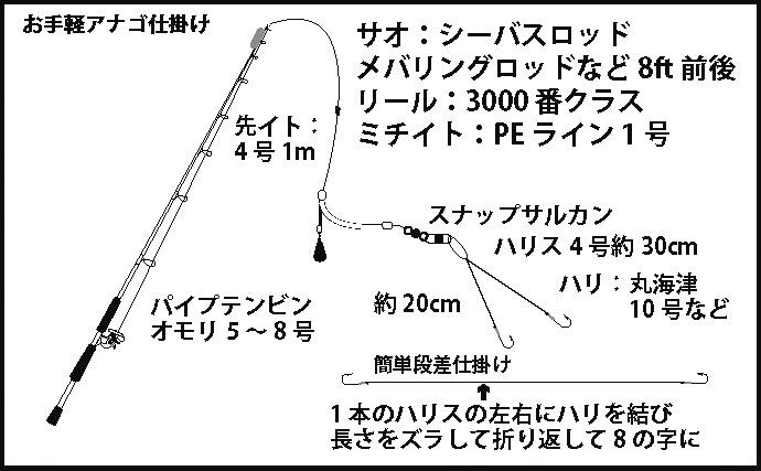 大阪湾陸っぱり夏アナゴ釣り初心者入門 簡単段差仕掛けで時合いを狙う