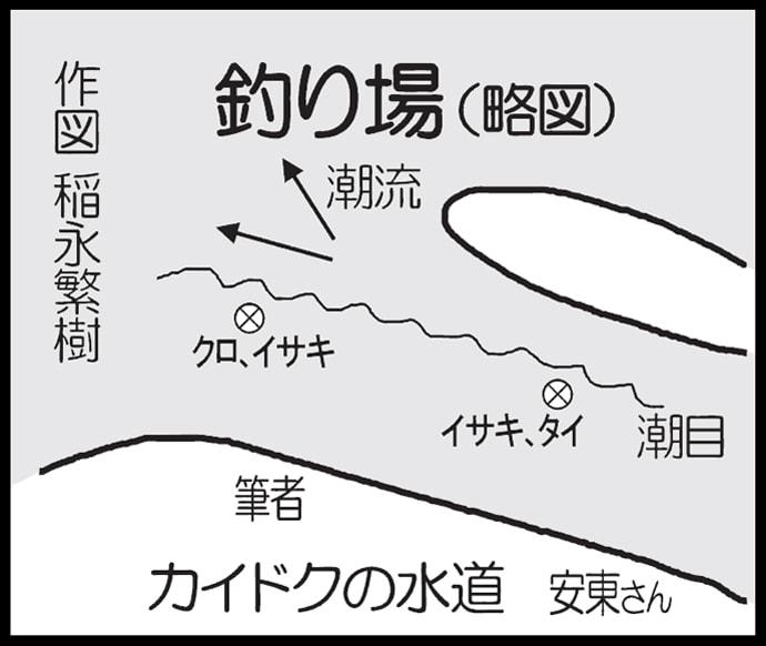 磯フカセ釣りで40cm口太グロに45cmマダイ【大分県・米水津の磯】