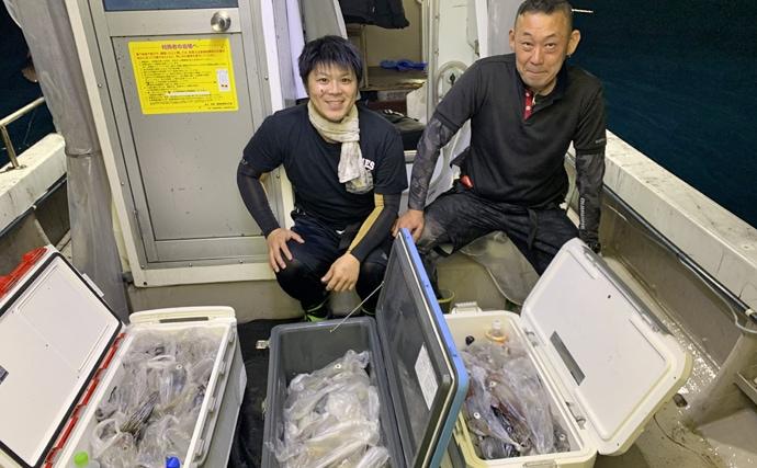 【福岡県】夜焚きイカ船釣果速報 イカメタル&胴突きでトップ130杯