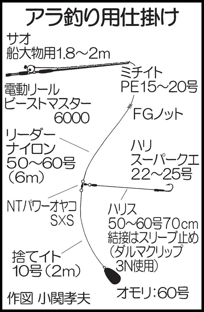 釣ったヤリイカ泳がせて90cm超えアラ(クエ)登場!【福岡県】