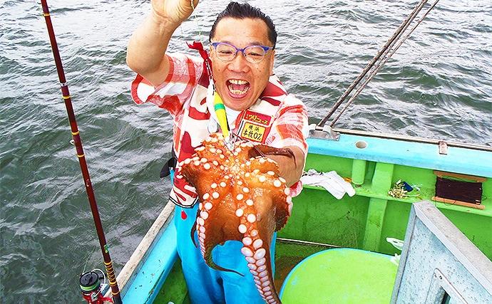 船エギタコ釣りで2kg級を頭に船中240尾超えの大釣り【黒川本家】