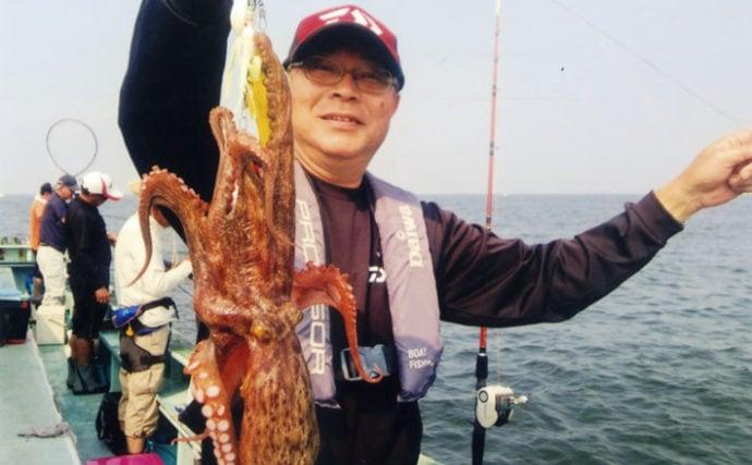 初挑戦エギタコ釣りで1.6kg頭に6匹 乗り分からず苦戦【石川丸】