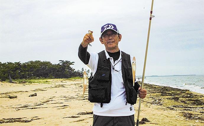 投げキス釣りで型揃い堪能 20.5cm頭に26匹【三重・町屋海岸】
