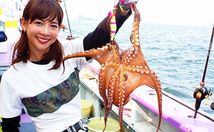 阪本智子が初めての東京湾エギタコ釣りへ挑戦 ド派手&高アピールで17尾