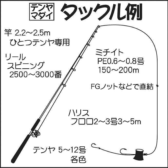 日立沖テンヤマダイで船中1.2kg頭10尾 イナワラも!【弁天丸】