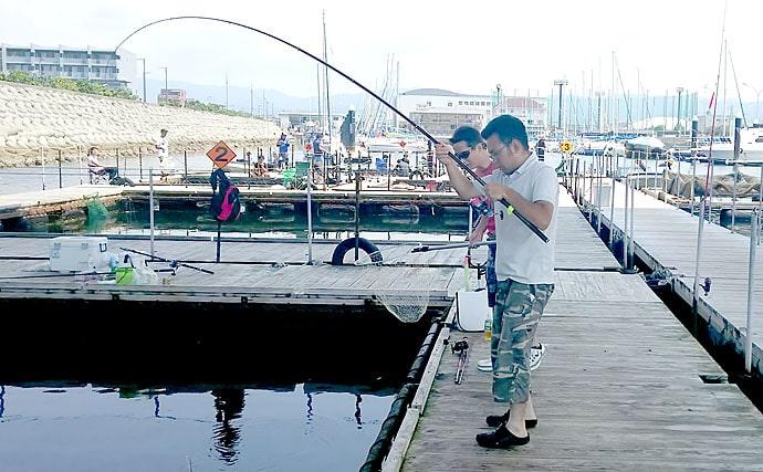 シーバスタックルで海上釣堀に挑戦も専用竿に完敗?【海釣ぽ~と田尻】
