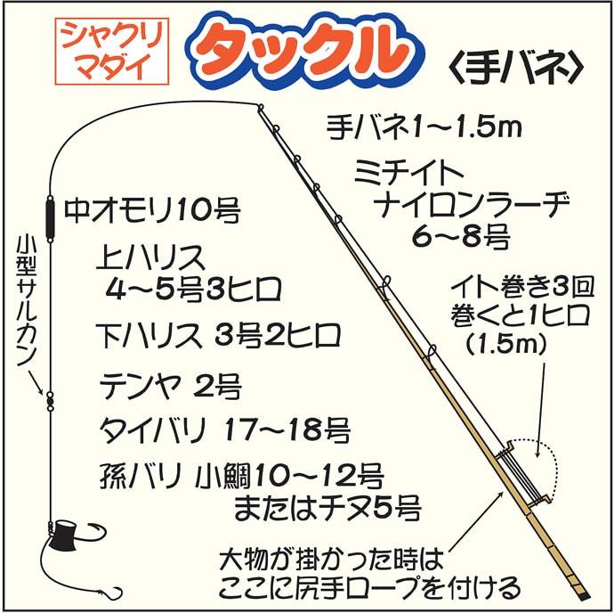 伝統釣法『シャクリマダイ』で3kg本命 リール使わぬ手バネで挑戦!