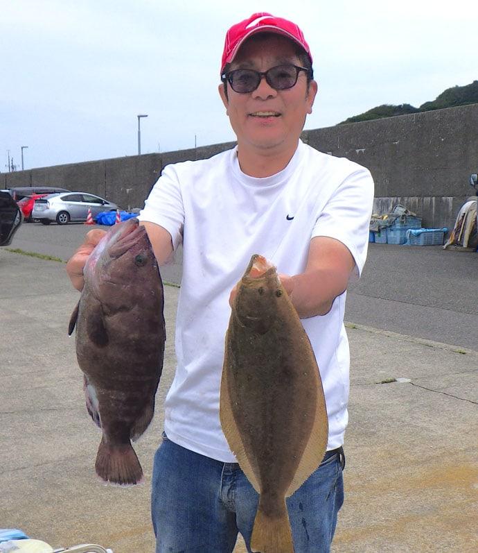小アジ泳がせ釣りでキジハタ船中75尾 マハタやヒラメ混じり【大進丸】