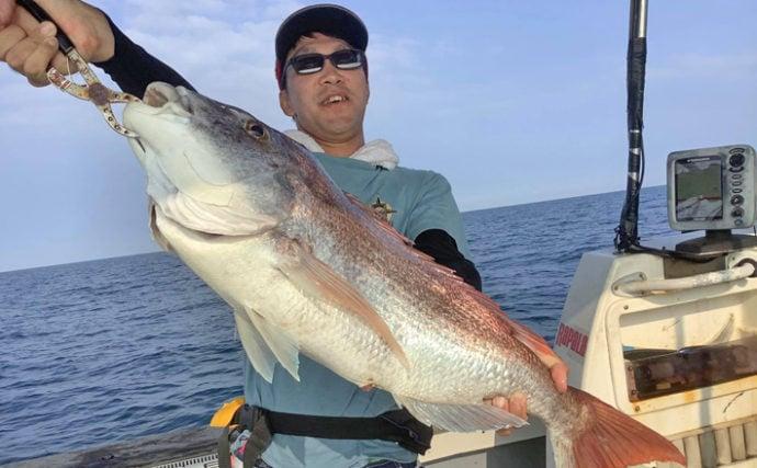 【九州エリア】タイラバ釣果速報 5kg大型マダイに船中本命40尾!