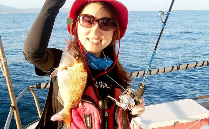 明石沖ジギング&タイラバ 初めての釣りで青物&マダイをキャッチ!