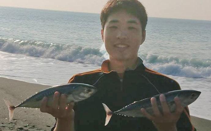 大磯海岸でサーフトローリング ソーダガツオにヒラスズキ手中【神奈川】