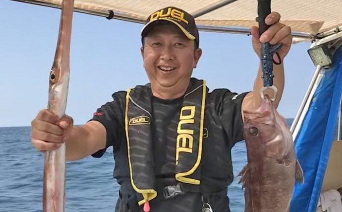 アジの泳がせ船で40cmタカバに1m超えのアカヤガラ顔見せ【福岡】