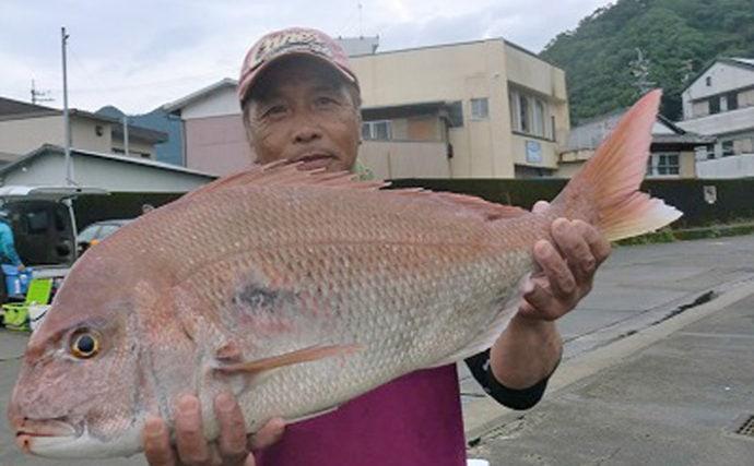 【三重県】イカダ&カセ釣果速報 73cm大型マダイにアオリイカも好調