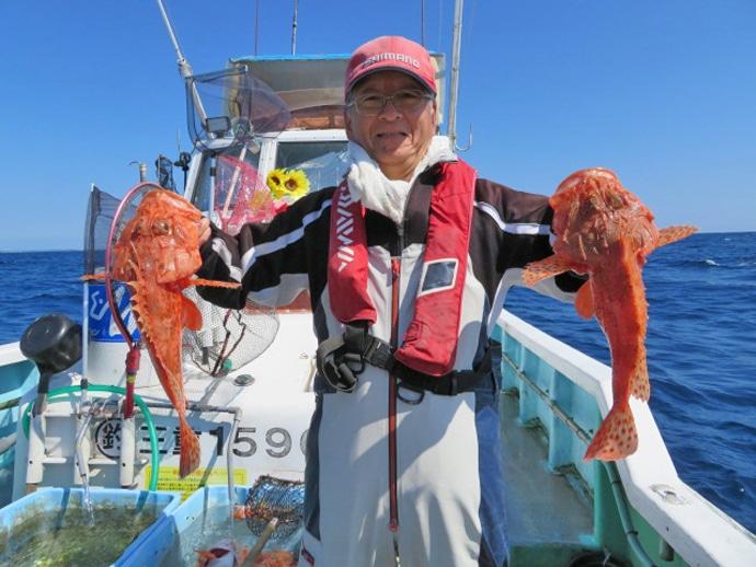 【三重・福井】沖釣り最新釣果 オニカサゴ32匹に10㎏超タルイカ!