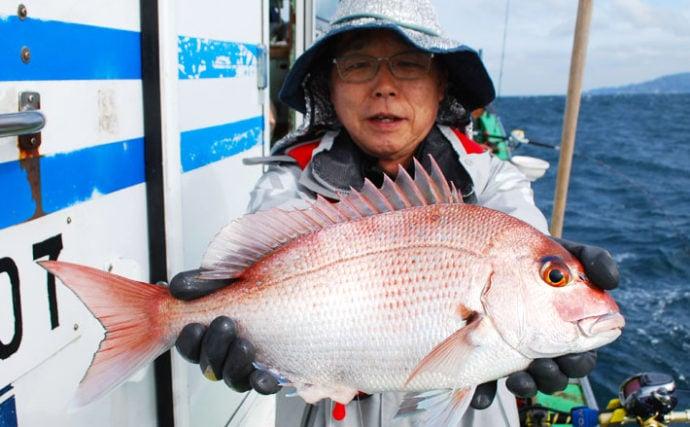コマセマダイ釣りで2kg頭に本命7尾 秋シーズン好調【庄幸丸】
