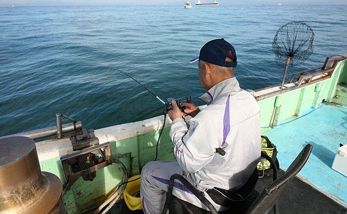 胴突き仕掛けのアジ五目釣りで40cm超え本命登場【大阪・大勝丸】