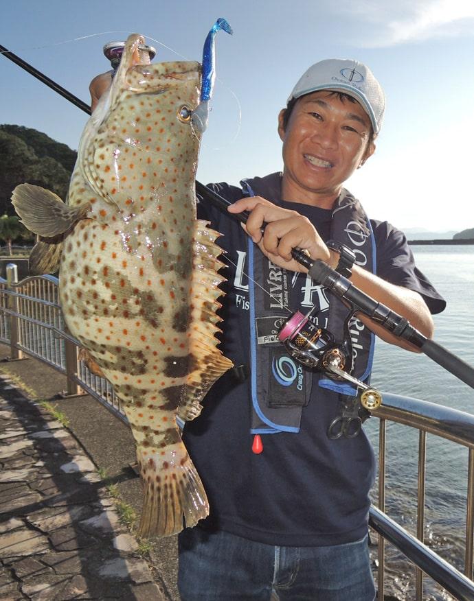 陸っぱりロックゲームでレア魚『チャイロマルハタ』登場に感動【錦漁港】