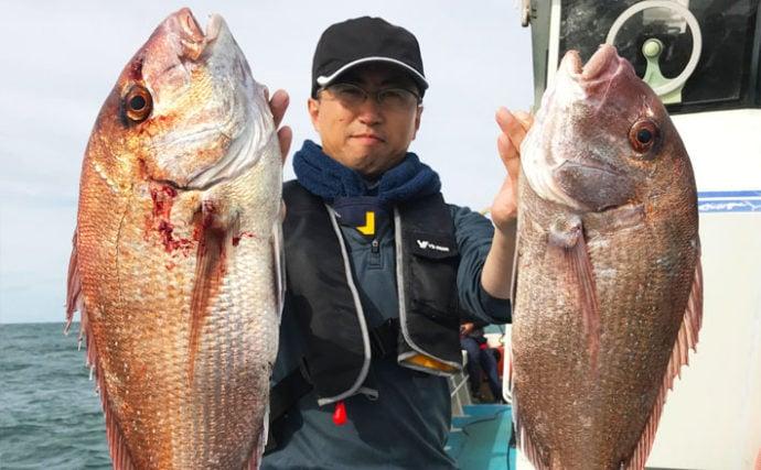 【福岡県】沖のエサ釣り最新釣果 ひとつテンヤで船中マダイ50尾!