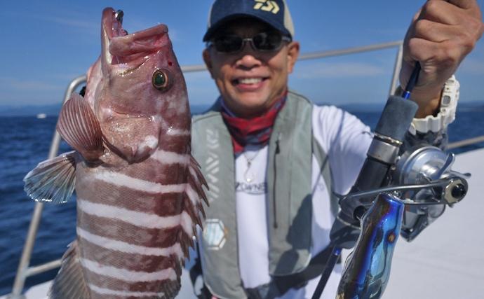 オフショアジギングで五目釣り堪能 好ゲストは良型マハタ!【三重県】