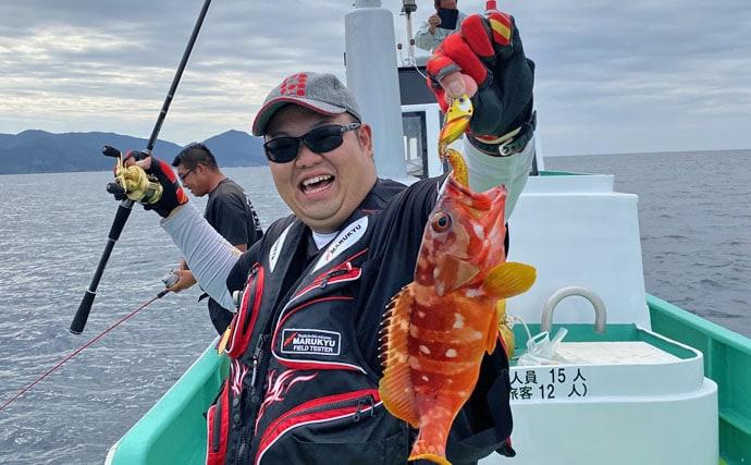 突発船釣りで40㎝アカハタ 1時間で12尾の多彩な釣果【万集丸】