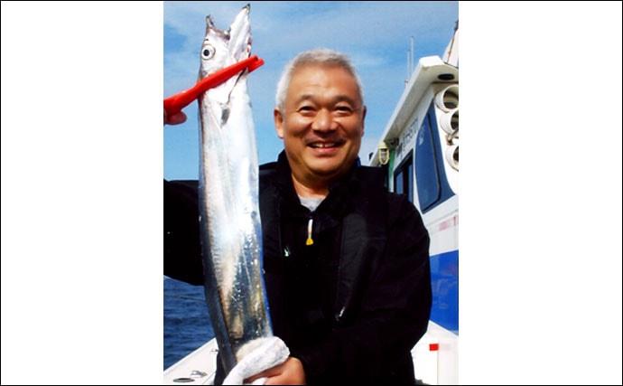 テンヤタチウオ釣りで指5本級 カナトフグに苦戦も大型連発【栄福丸】