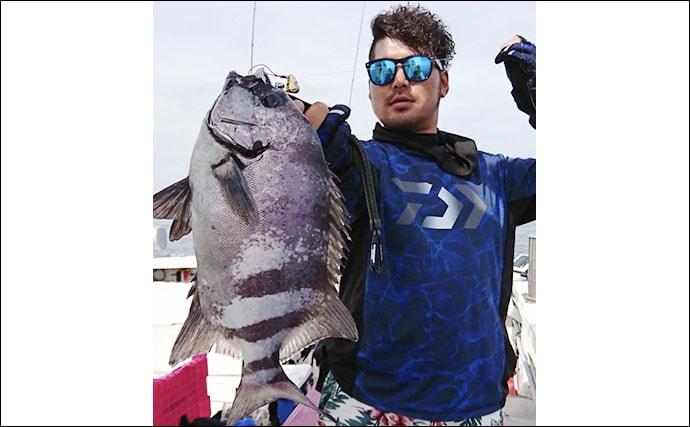 テンヤマダイ釣行で4kg頭に本命連発 イシダイにヒラメも【四季丸】