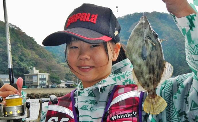 陸っぱりカワハギ釣りで24cm頭に本命8匹 ゲーム性が病みつきに