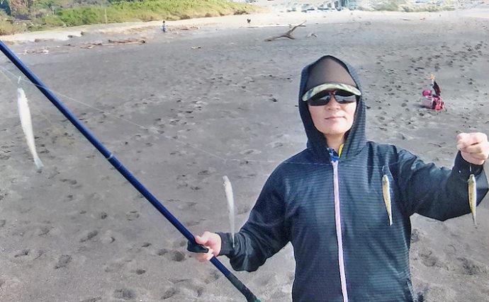 投げキス釣りで22cm頭に夫婦で47尾 1色で連続ヒット【東条海岸】