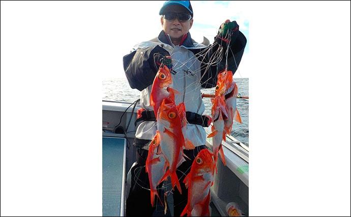 相模湾の『中深場釣り』で高級魚キンメダイの8点掛け披露【太郎丸】