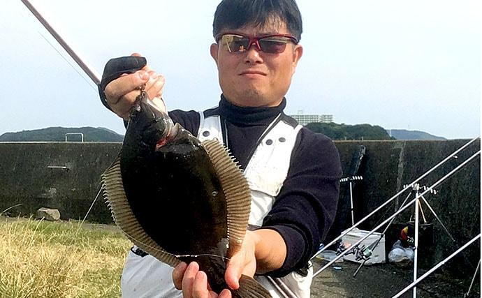 シーズン初の投げカレイで本命3尾手中 『塩マムシ』がアタリ【徳島】
