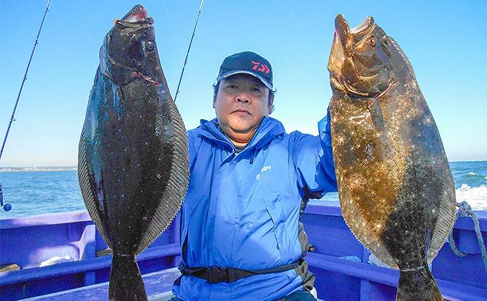 大原沖ヒラメ釣りが絶頂期 乗船取材で2.4kg頭に8尾【春栄丸】