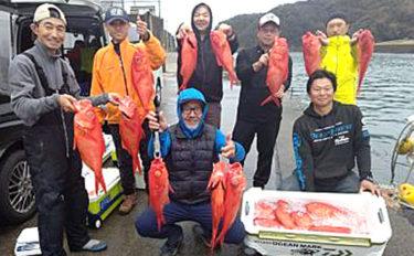 新島キンメジギングで全員安打達成 船中トップは本命8匹【静岡】