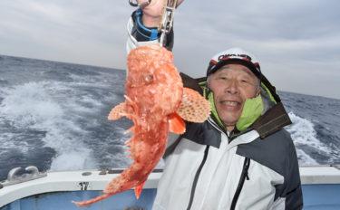 オニカサゴ船で40cm級本命 好ゲストにカンコやヒメダイも【勝丸】