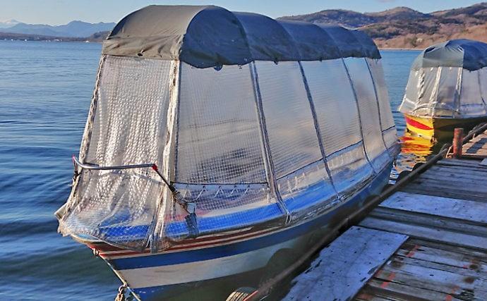 小型ドーム船でワカサギ釣り堪能【静山荘フィッシングエリア】
