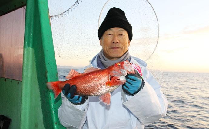 遠州灘の赤い宝石『アカムツ(ノドグロ)』釣り 良型顔見せ【福徳丸】