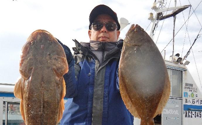 活きイワシの泳がせ釣りで68cm巨大マゴチお目見え【石川丸】